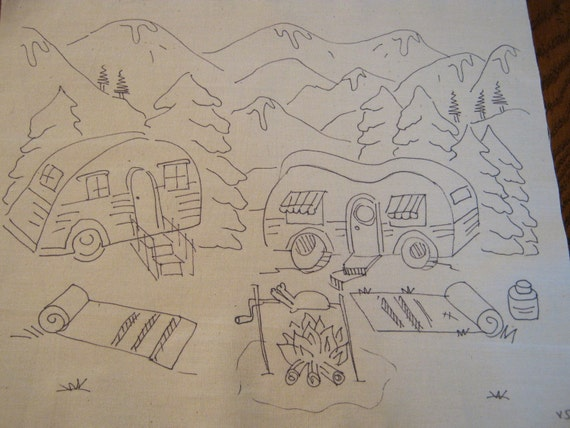 Vintage RV Camping in the Mountains Embroidery to do embroider paint color