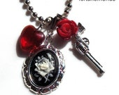Necklace Black Love, Cameo Rose Gun Heart