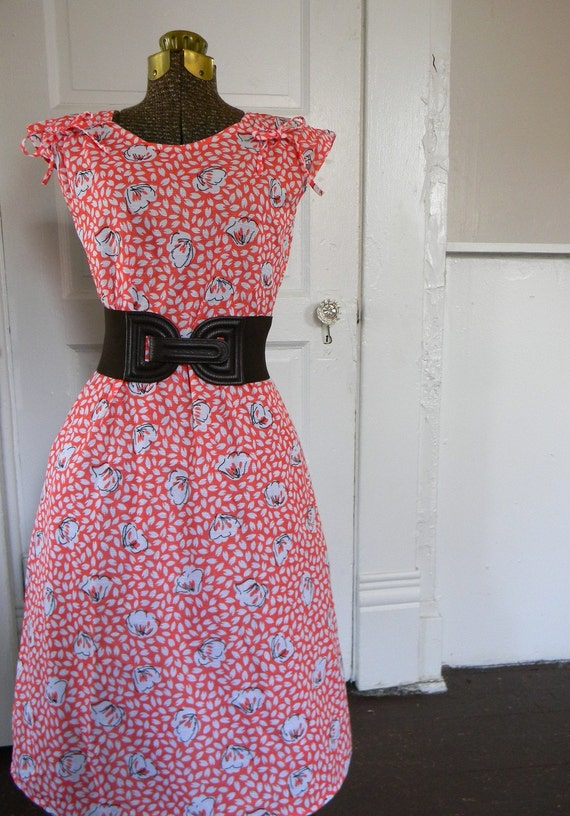Adorable coral and white floral day dress