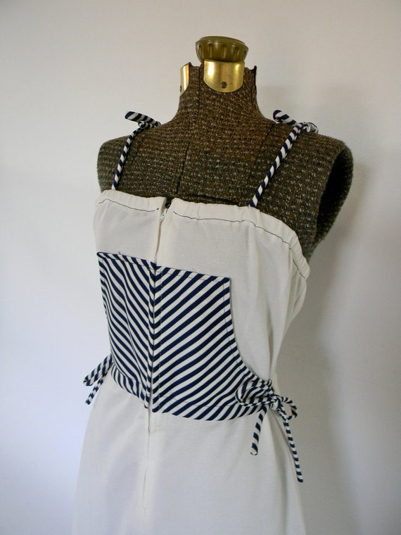 70s Nautical Striped Tie Dress with Zipper Front
