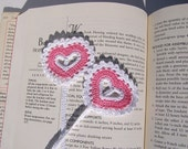 Valentine, Book Mark Pink and White, Crocheted,  Heart Shaped Bookmark