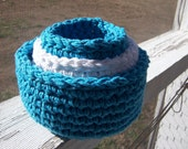 Crocheted Primitive Cotton Nesting Bowls Baskets Blue and White