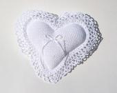 Pillow, Heart Shaped Crocheted Pillow, Wedding Pillow, Ring Bearer Pillow, White
