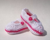 Crocheted Mary Jane Shoes, Baby Shoes /  Booties 6 - 12 Months White and Pink