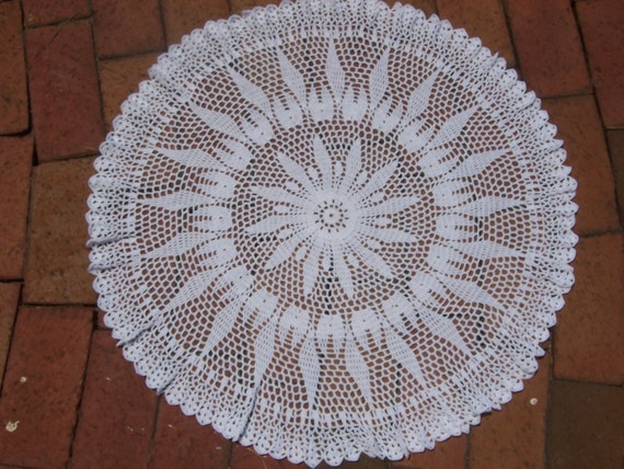 Items similar to Doily, Table Topper, Crocheted Round ...