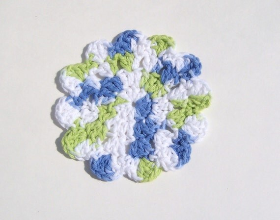 Coasters, Cotton, Flower, Blue White Lime, Crocheted, Thick and Thursty
