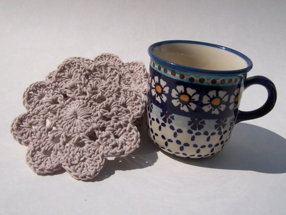 Crocheted Coasters, Mug Mats, Beige, Natural, Floral,  Large, Crochet, Thick and Thirsty
