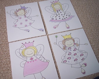 Set of 4 Fairy Princess Prints / Pictures / Perfect for your little princess's bedroom / Originals done in watercolor
