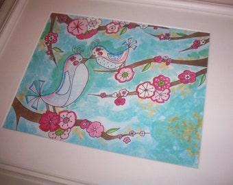 Set of 3 Cherry Blossom Tree Bird Art Prints Pictures