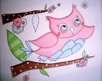 Set of 3-  Owl Birds And Tree Bird Art Prints Pictures