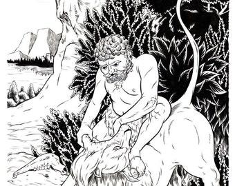 Samson And The Lion Original Drawing