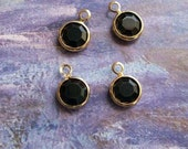10 tiny jet-black swarovski crystal charms in gold setting, 7mm