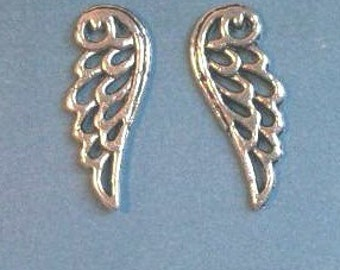10 wing outline charms, silver tone, 24mm