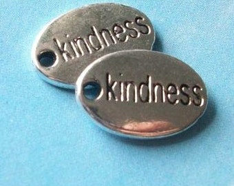 10 'kindness' tag charms, double sided ovals, shiny silver tone, 15mm