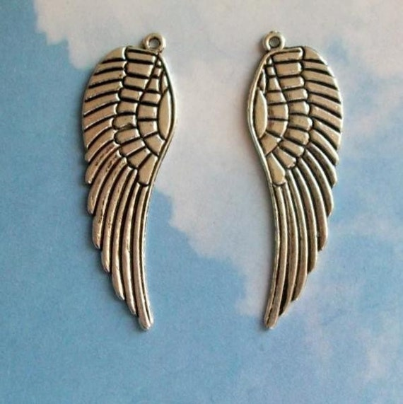 4 HUGE feathered wing charms, silver tone, 50mm
