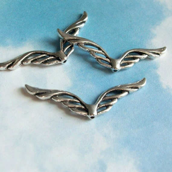 10 art deco double wing connectors or spacer beads, silver tone, 41mm