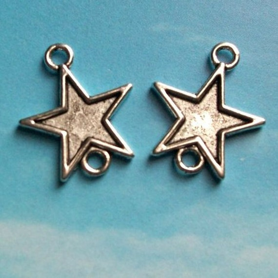 5 two-hole star connectors, antiqued silver tone, 19mm