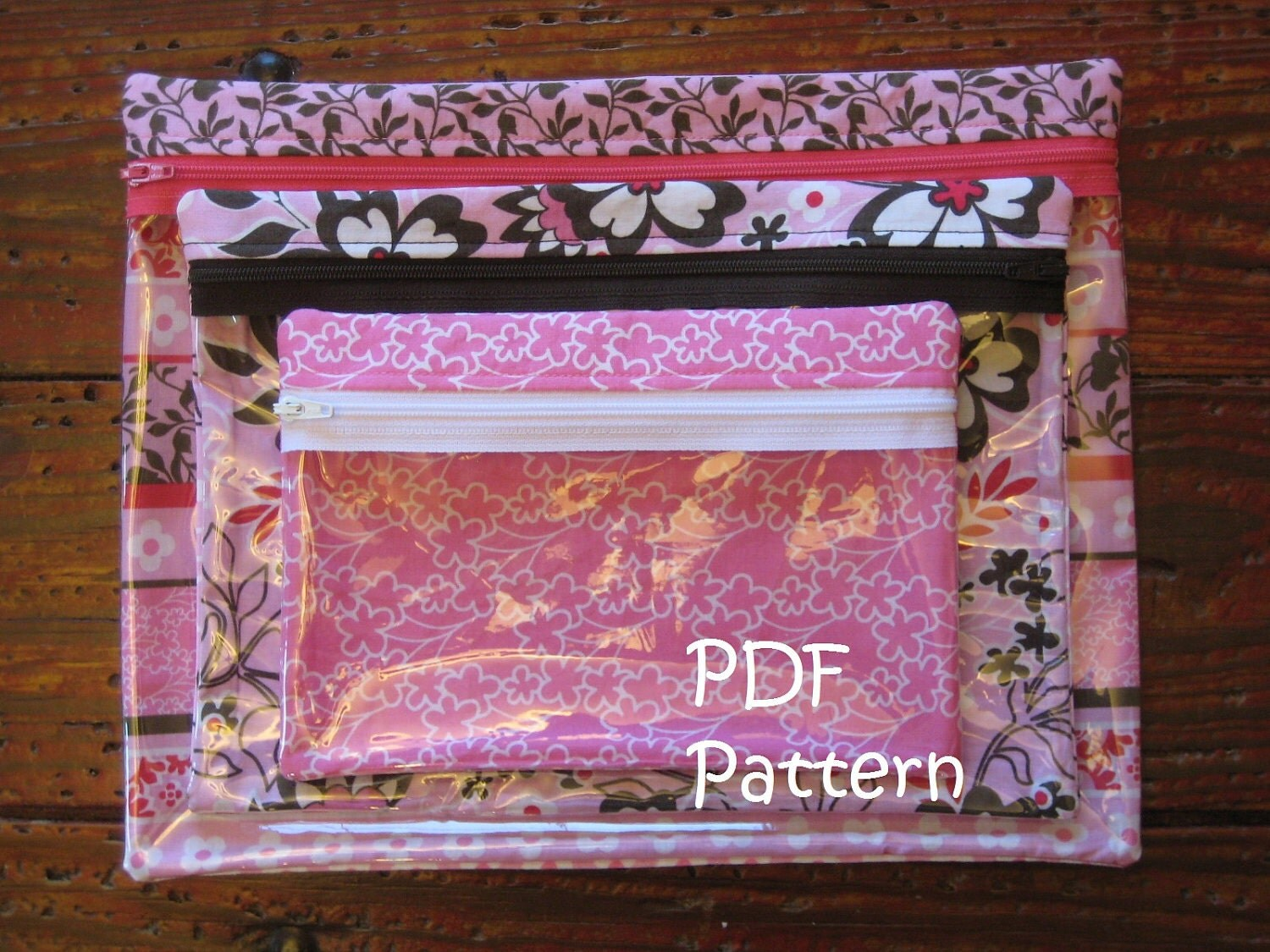 pattern for clear zipper makeup bags in 3 sizes pdf fq