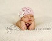 0-3 months Pink Beanie with Flower