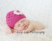 Newborn Hot Pink Beanie with Flower