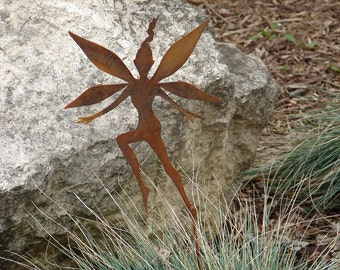 Rusty FAIRY GARDEN STAKE Yard Decor Lawn Ornament Metal