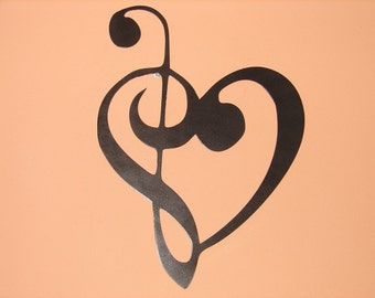 Metal WALL ART Music Heart Notes Musical Treble Clef