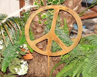 Metal 12inch PEACE SIGN Rusty Garden Stake Yard Descor