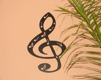 Treble Clef Metal WALL ART Mmusic Notes Musical Decor 20inches