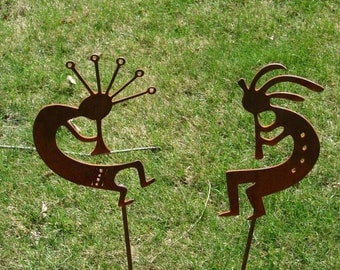 Metal DANCING KOKOPELLI Garden Stake Yard Decor