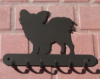 Papillon LEASH RACK Hat Key Hook Wall K9 Dog Pet Decor
