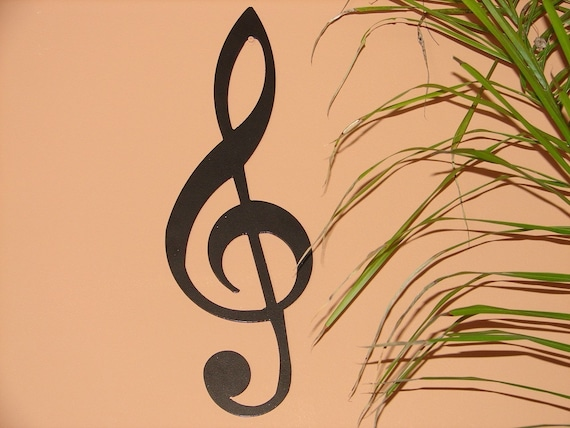 TREBLE CLEF METAL WALL ART MUSIC NOTES MUSICAL DECOR  20inches