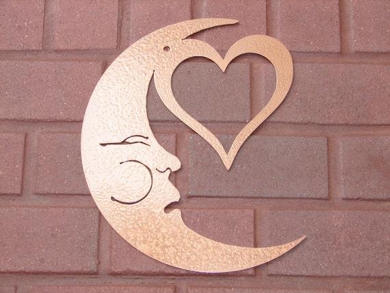 moon heart face metal wall art home decor garden by artbyjack. Black Bedroom Furniture Sets. Home Design Ideas