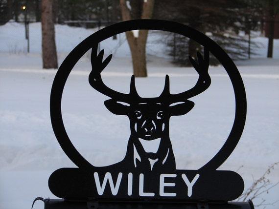 Deer Head MAILBOX TOPPER Address Metal Sportsman Wildlife Sign Hunting