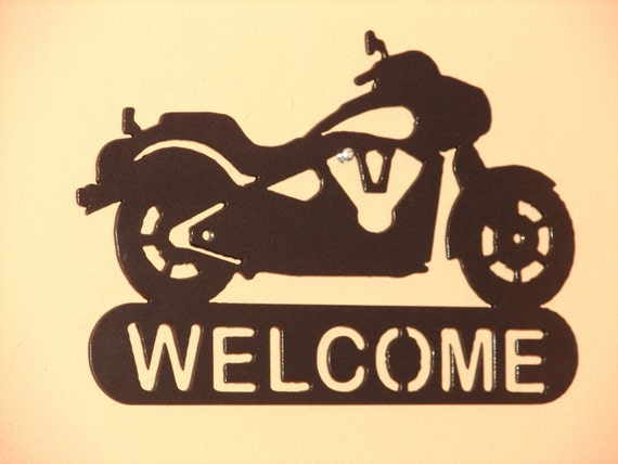 Harley davidson motorcycle welcome sign home decor wall biker for Motorcycle decorations home