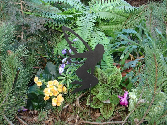 FAIRY SHADOW Garden Stake Yard Decor Lawn Ornament Metal Art Magical Mystical 13