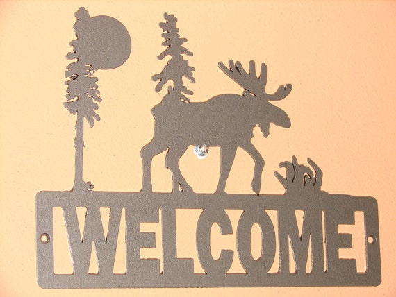 Wilderness Moose scene WELCOME PLAQUE Sign Home Decor Wall House Metal Nature