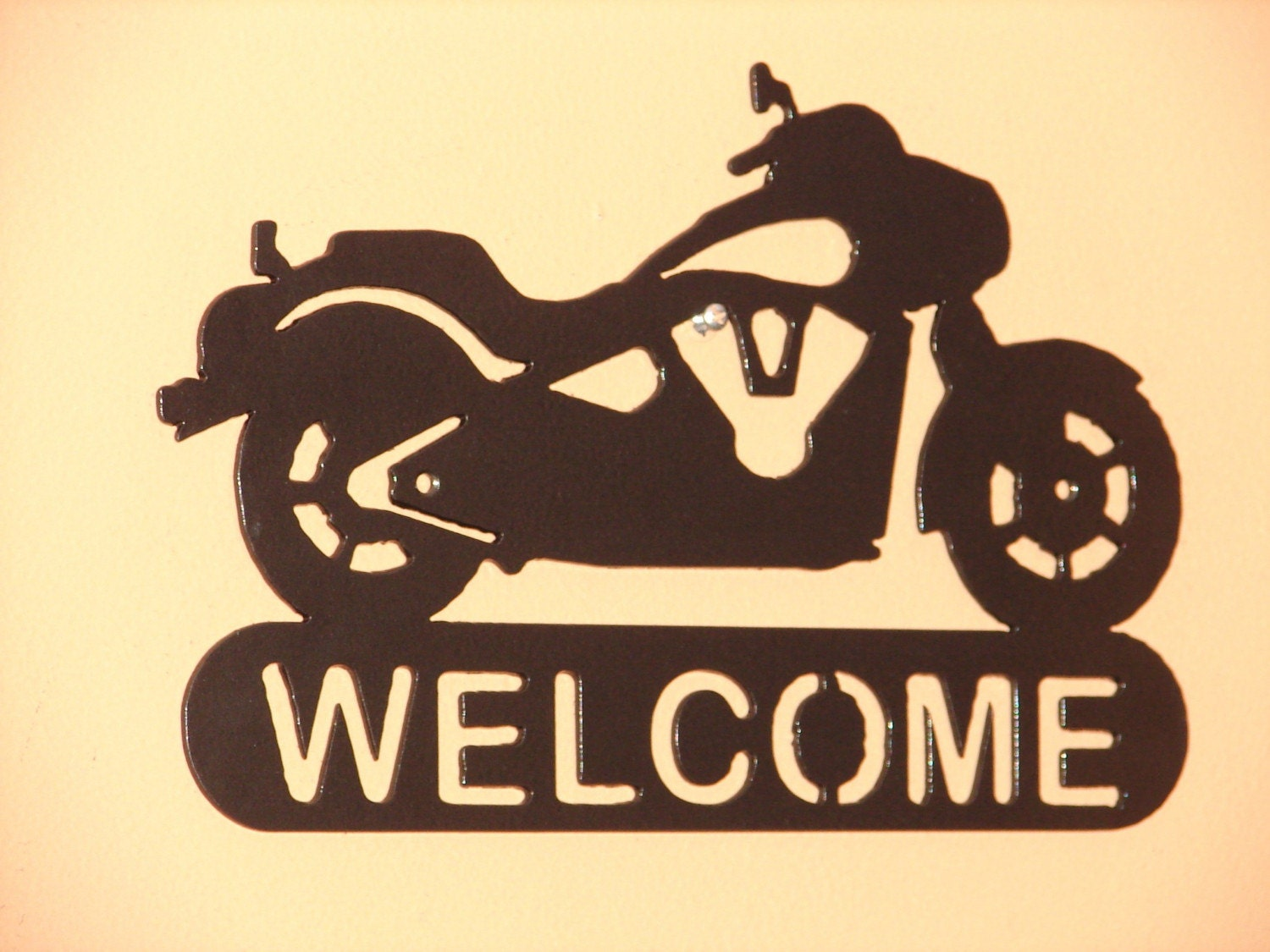 Motorcycle harley davidson welcome sign home decor wall for Welcome home decorations