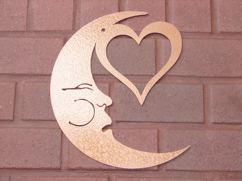 Metal Wall Decor Etsy : Moon heart face metal wall art home decor garden patio