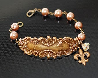 Pearls and Ornate Fleur de Lis Bracelet