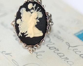 Fairy Ring FREE SHIPPING  Cameo Antiqued Silver Black White Fantasy Cocktail evenings filigree adjustable