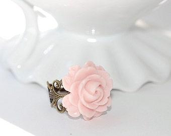 Vintage Pink Flower ring Free Shipping flower brass filigree adjustable pale pink Summer Wedding