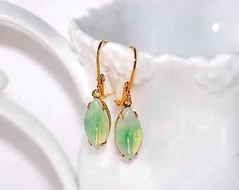 Free Shipping Green Opal Vintage Sabrina Earrings Navettes Retro small Dainty Summer
