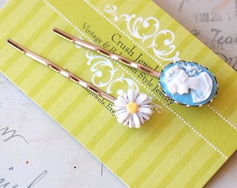 FREE SHIPPING Vintage Cameo Bobby pins Blue Cameo Daisy Barrette Handmade girly Wedding Bridesmaids Sweet Cute Silver Plated