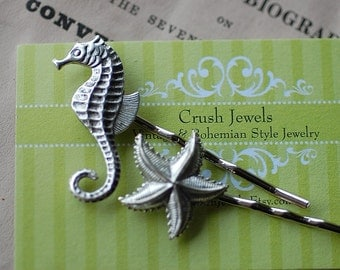 FREE SHIPPING Barrette Sea Horse Starfish Hair  VIntage Style Silver Old Hollywood Retro Girly Bridal wedding bride