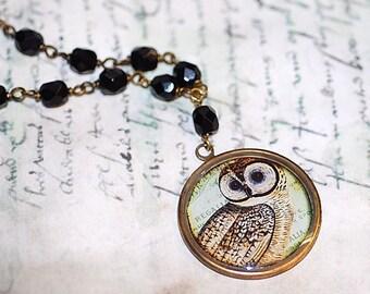 Owl  Gold Necklace Cameo Handmade onyx beads green Retro Art Shabby Chic