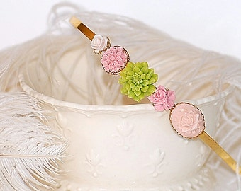 FREE SHIPPING Hairband HeadBand Cameo Flowers Pink Green 24K Gold Bridal Girly Shabby Chic Retro French Girl Blossoms French