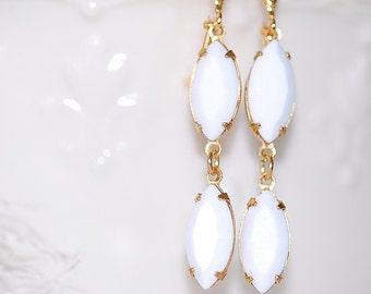 FREE SHIPPING Estate  Earrings Bridal Rhinestones white opaque  Old Hollywood Glass Vintage Jewel Earrings 1960's Bridal Weddings