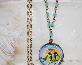 FREE SHIPPING Cameo Necklace Chickadee Birds Crystal Vintage Beaded chain girly Retro Charm Vintage Style