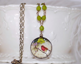 FREE SHIPPING Cameo Necklace Red Robin Vintage Bird Handmade Cameo Flower beads
