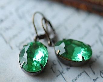 Vintage Peridot Green Oval Estate Earrings